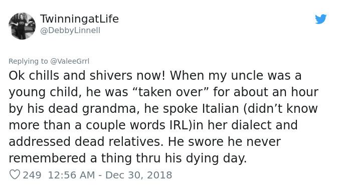 uncle taken over by dead grandma
