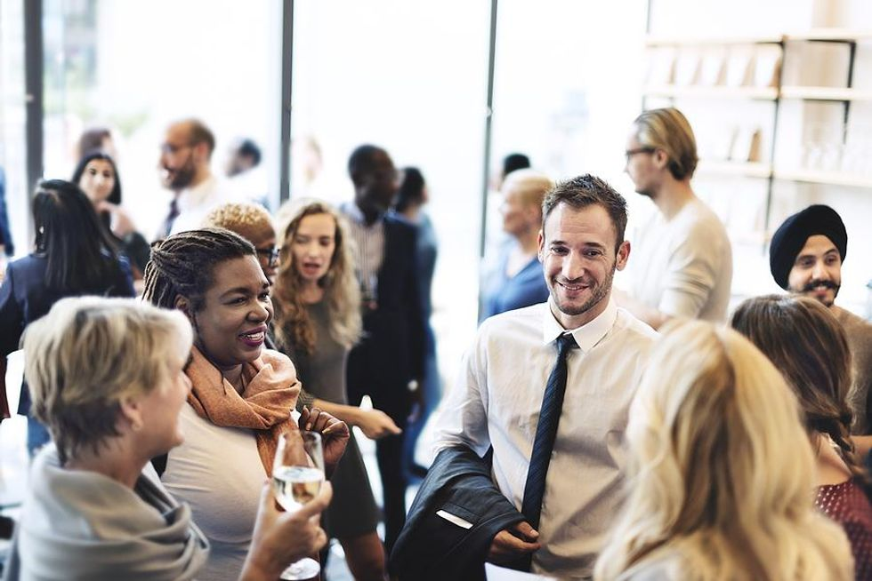 Professionals connect at a networking event