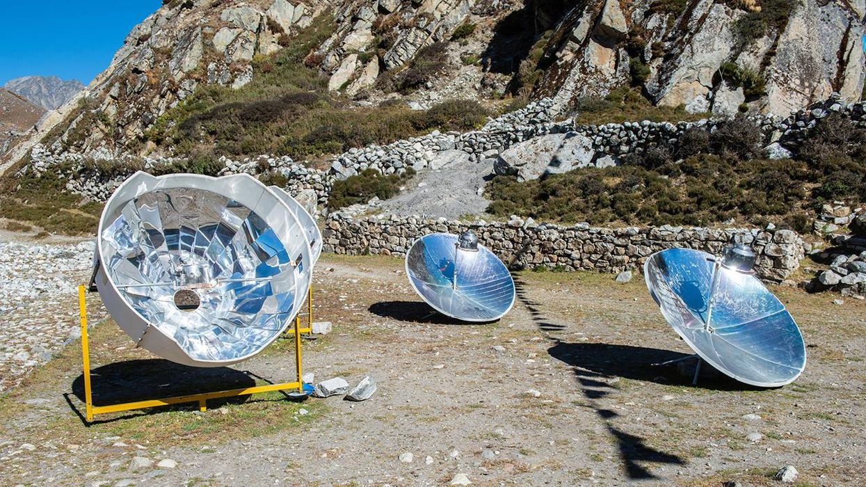 A solar cooker uses the energy of the sun to cook, reducing deforestation