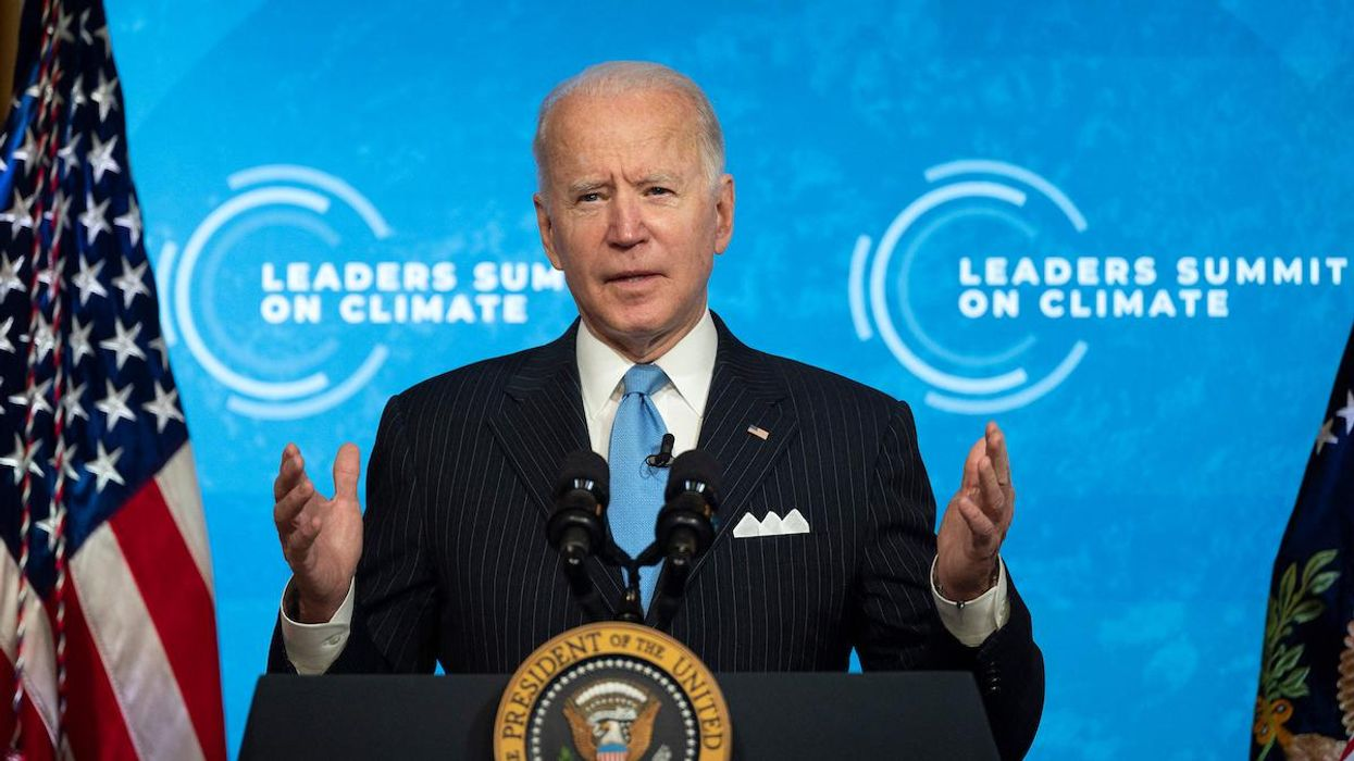 President Joe Biden delivers remarks during the virtual Leaders Summit on Climate.