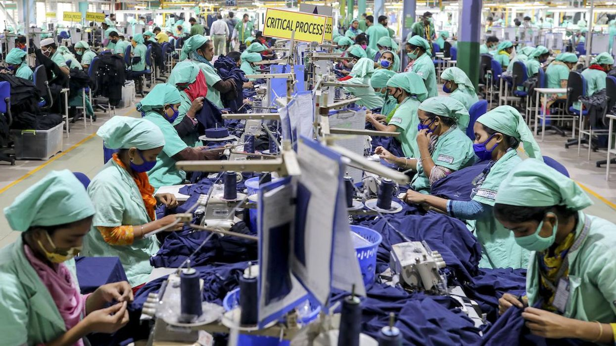 Garment workers in a textile mill in Bangladesh.