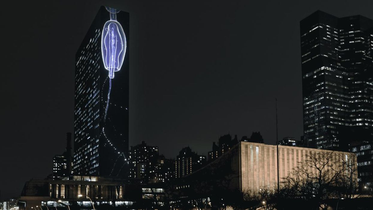The image of a siphonophore was projected onto the facade of the UN building.