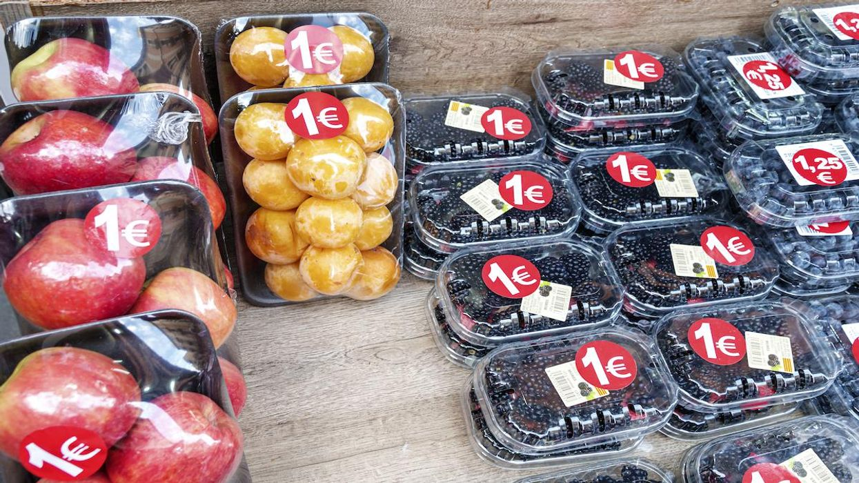 Plastic-wrapped fruit on sale in Spain.