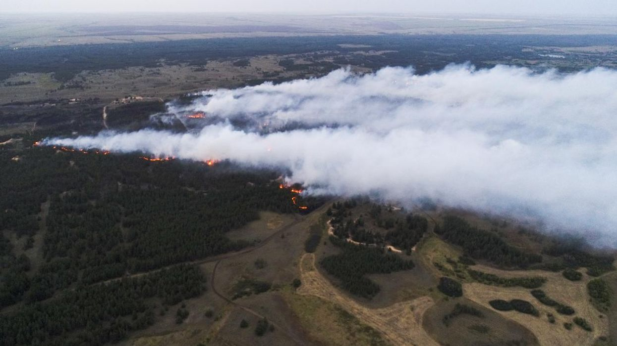 A large wildfire in Russia.