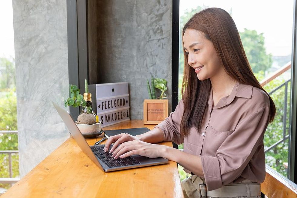 Woman happy at work