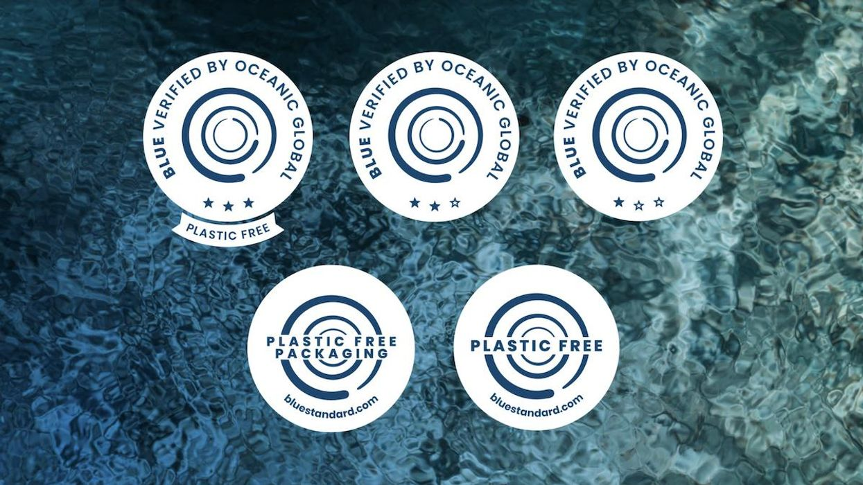 The Blue Standard program's sustainability ratings badges and seals.