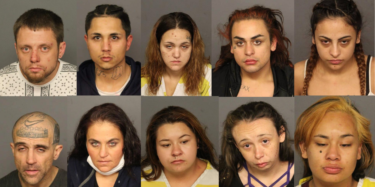 Group calling themselves 'the Sopranos' busted for alleged massive theft ring started to support their drug addictions. One even has 'styles Soprano' tattooed on his forehead.