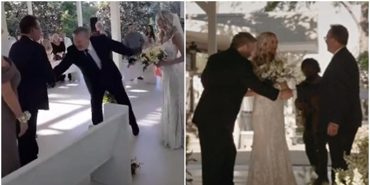 While walking his daughter down the aisle, dad pulls her stepdad from the crowd to join them