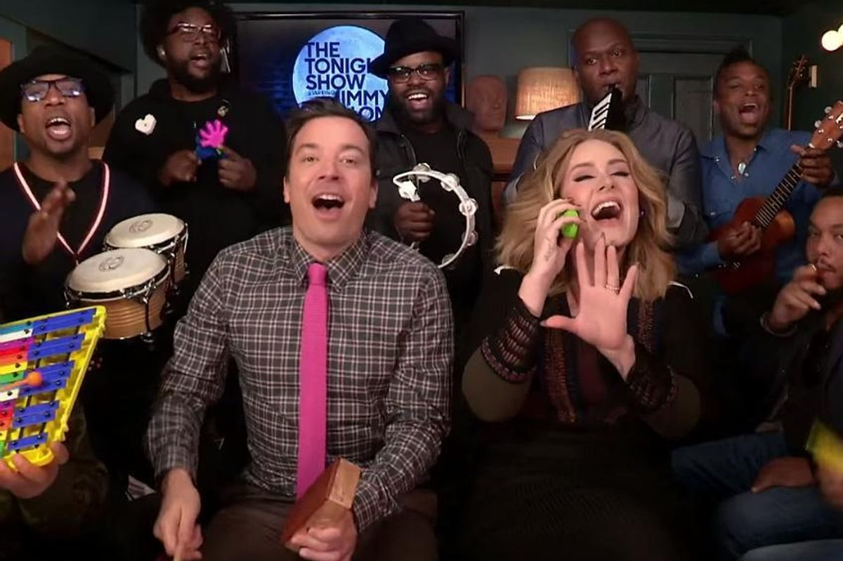 """Watch Adele and the Roots cover """"Hello"""" with Classroom Instruments"""