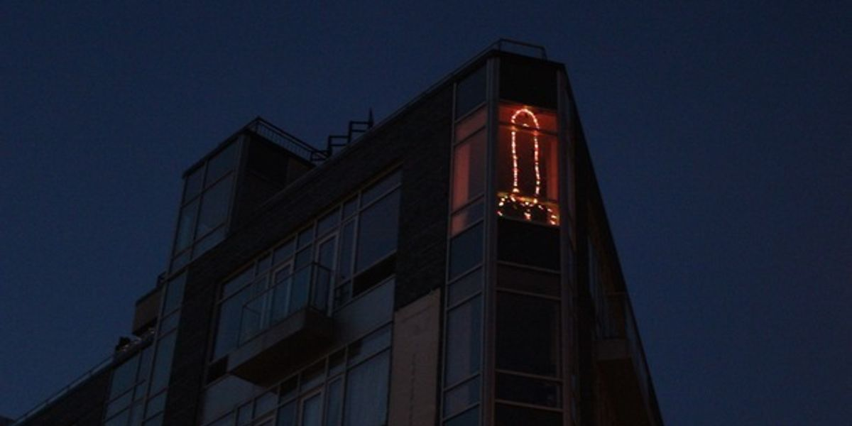 Massive Penis-Shaped Christmas Lights Erected In A Williamsburg Window