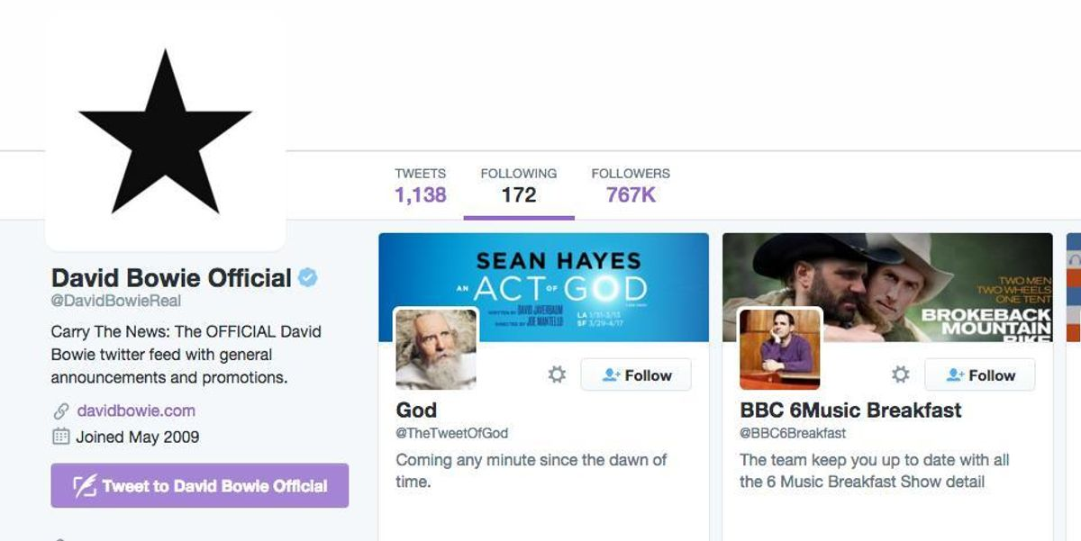 The Last Twitter Account David Bowie Followed Was God