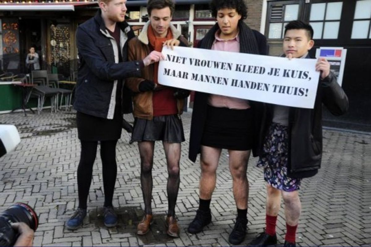 Dutch Men Join Anti-Victim Blaming Protests In Miniskirts