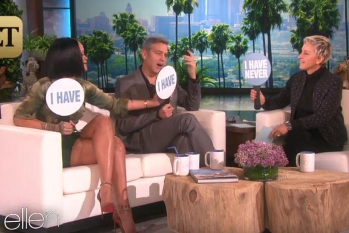 """Watch Rihanna and George Clooney Play """"Never Have I Ever"""" On The Ellen Show"""