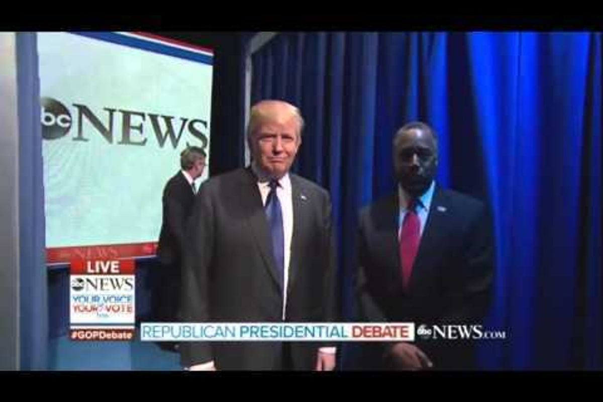 Watch Donald Trump and Ben Carson's Excruciatingly Awkward GOP Debate Entrance