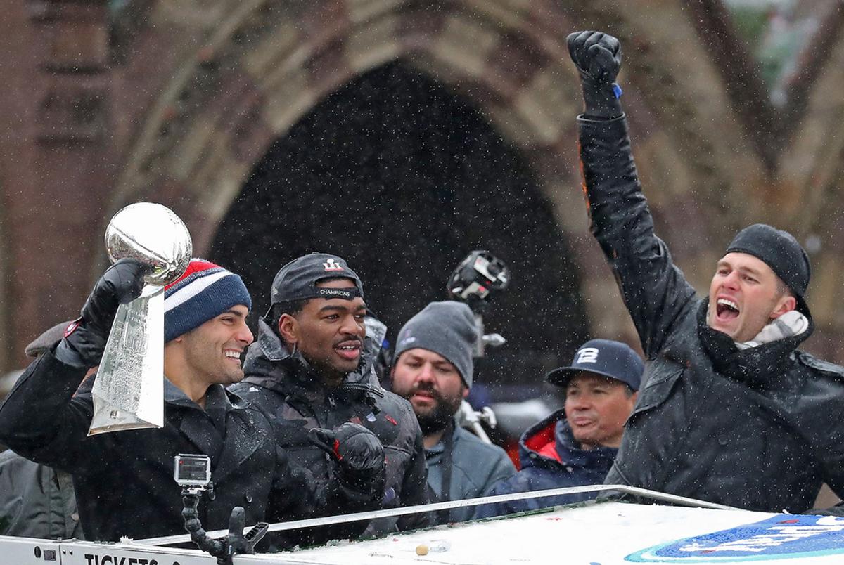 Patriots Parade Through Boston Celebrating with Fans