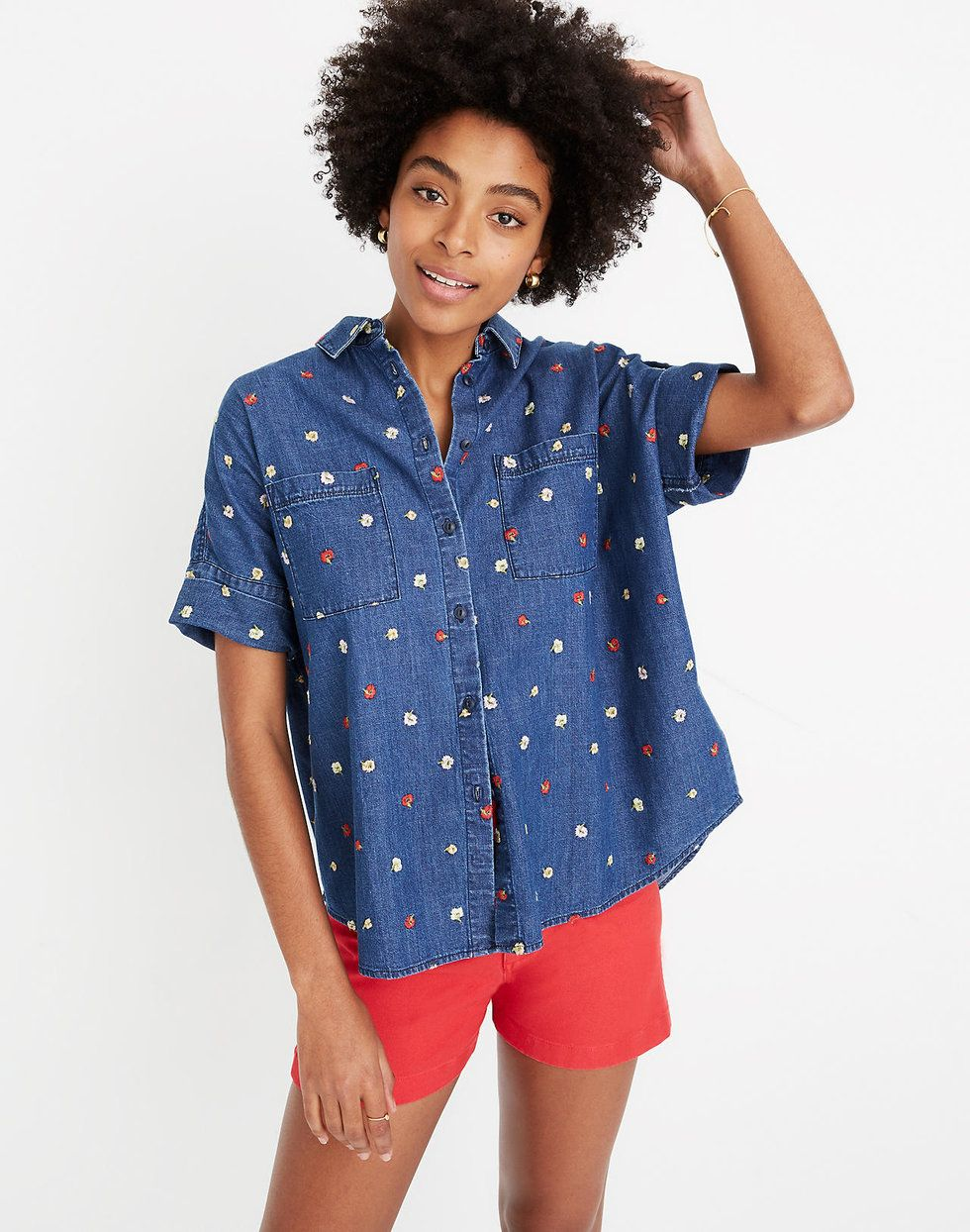 Madewell embroidered denim shirt