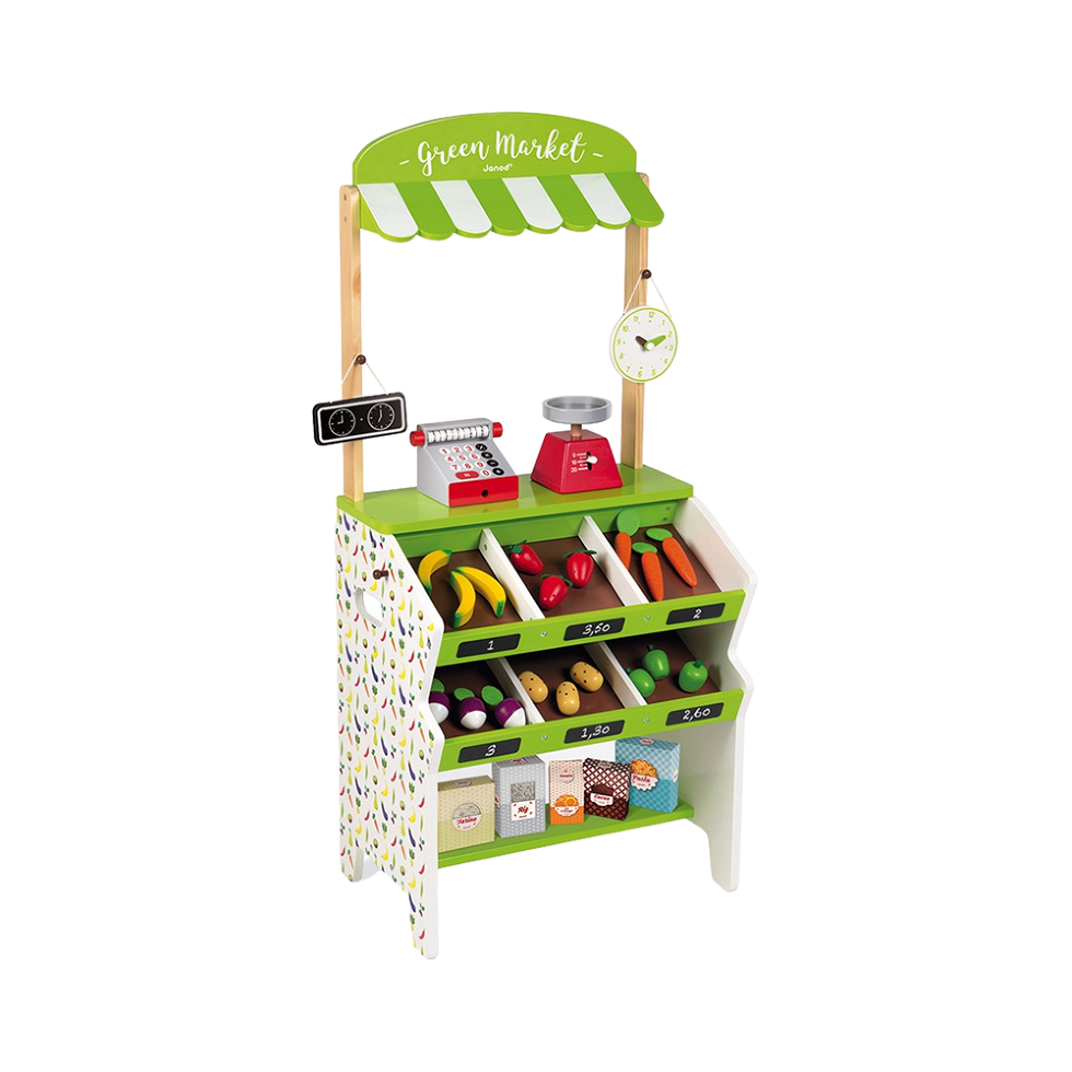 Janod green market grocer play stand