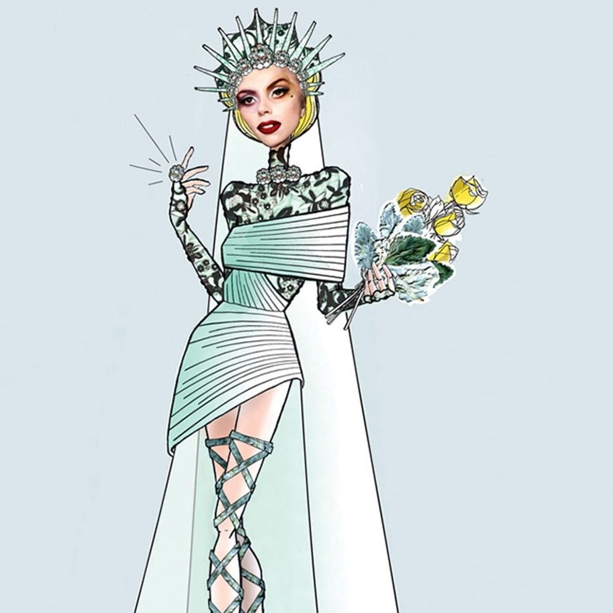 See What Karl Lagerfeld, Monique Lhuillier + More Designed for Lady Gaga's Wedding Dress